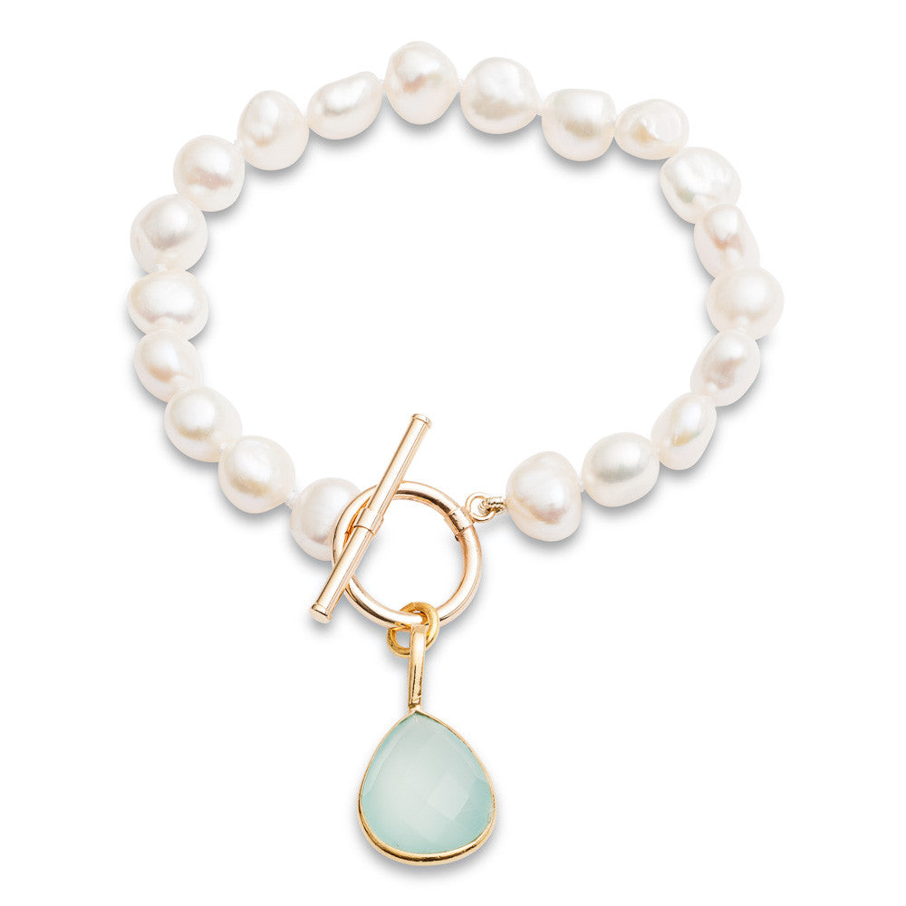 White irregular cultured freshwater pearl bracelet with an aqua chalcedony drop pendant