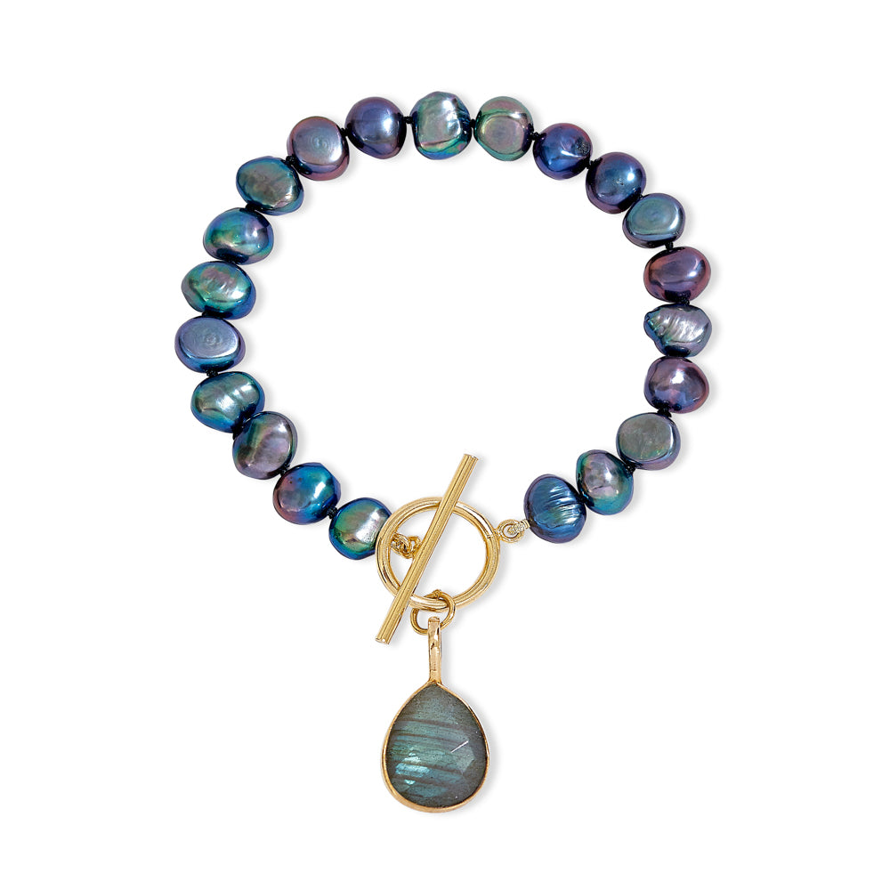 Clara black cultured freshwater pearl bracelet with a labradorite drop pendant