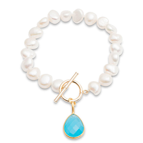 White cultured freshwater pearl bracelet with a cerulean chalcedony drop pendant
