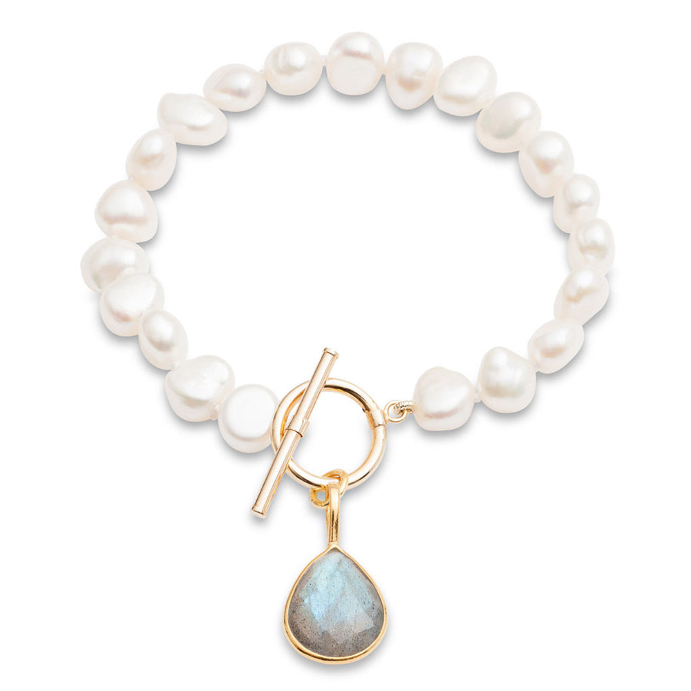 Clara white cultured freshwater pearl bracelet with a labradorite drop pendant