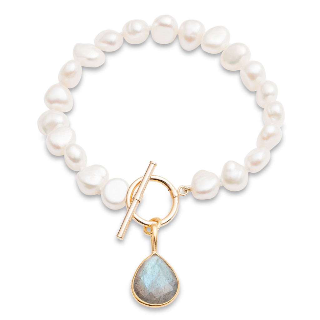 White cultured freshwater pearl bracelet with a labradorite drop pendant