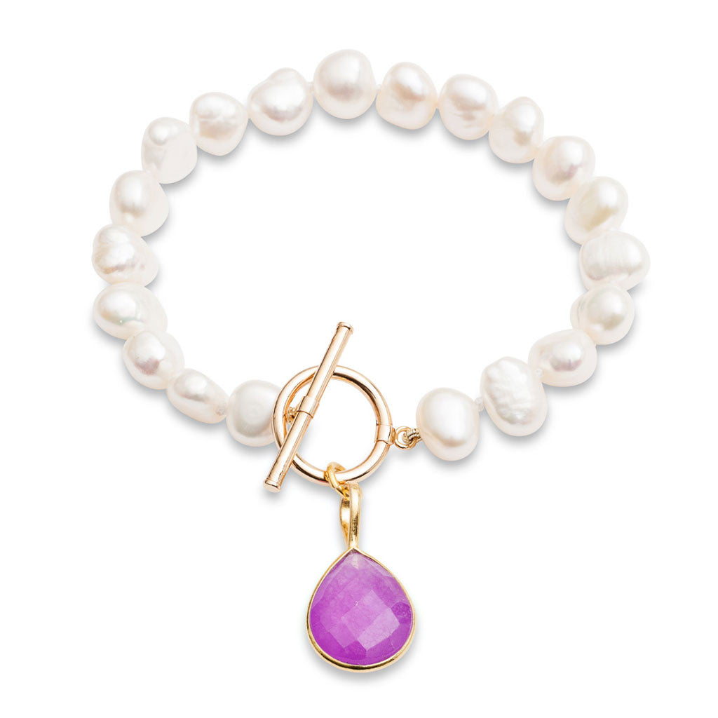 White cultured freshwater pearl bracelet with a lavender chalcedony drop pendant