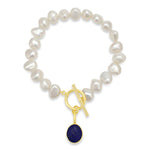 Clara white irregular cultured freshwater pearl bracelet with a lapis lazuli drop pendant