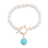 Clara single strand cultured oval freshwater pearl necklace with cerulean chalcedony gold vermeil pendant