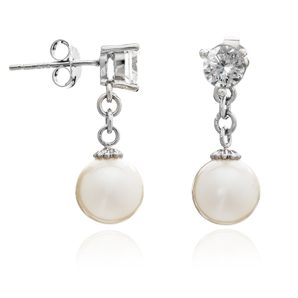 Classic almost round cultured freshwater pearl drop earrings with zircons