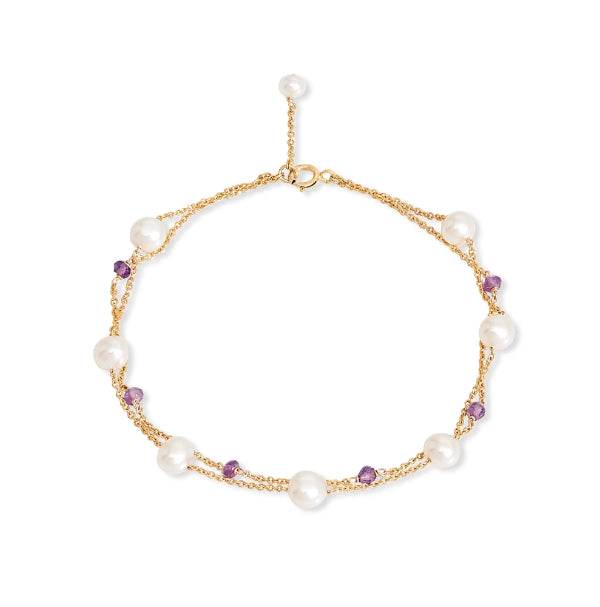 Fine double chain bracelet with cultured freshwater pearls & amethyst