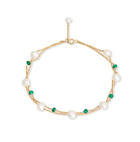 Fine double chain bracelet with cultured freshwater pearls & emerald