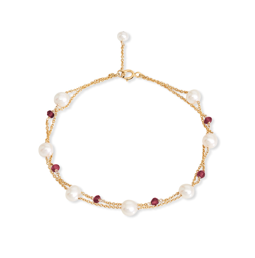 Credo fine double chain bracelet with cultured freshwater pearls & garnet