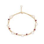 Fine double chain bracelet with cultured freshwater pearls & garnet
