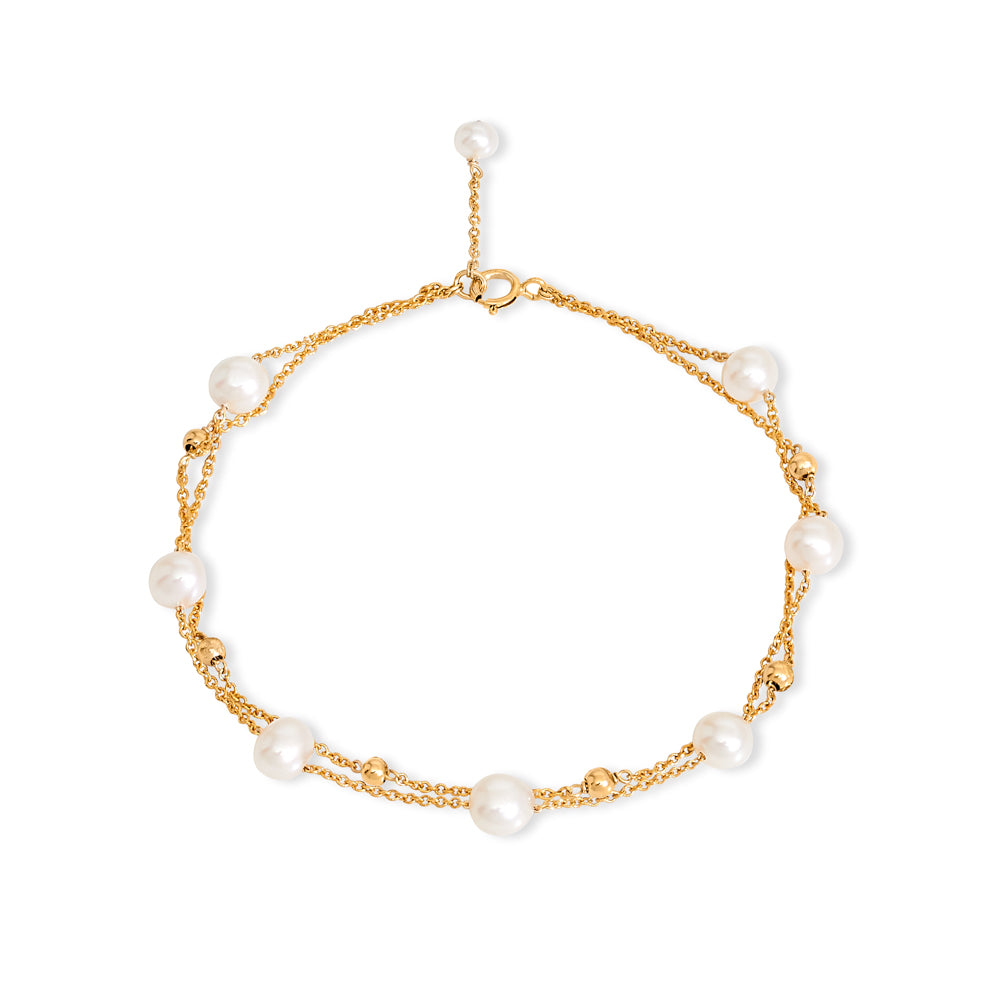 Fine double chain bracelet with cultured freshwater pearls