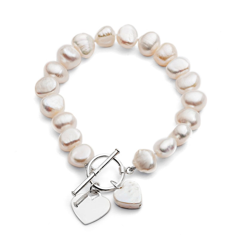 Amare cultured freshwater pearl bracelet with silver heart & pearl heart drop