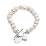 Cultured freshwater pearl bracelet with silver heart & pearl heart drop
