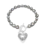 Amare silver grey cultured freshwater pearl bracelet with silver hammered heart pendant