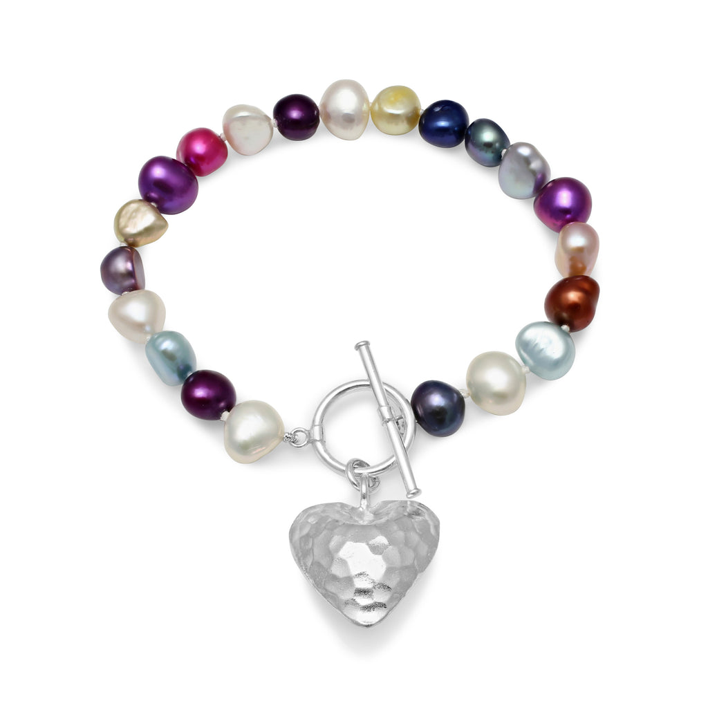 Multi-colour cultured freshwater pearl bracelet with a silver heart pendant