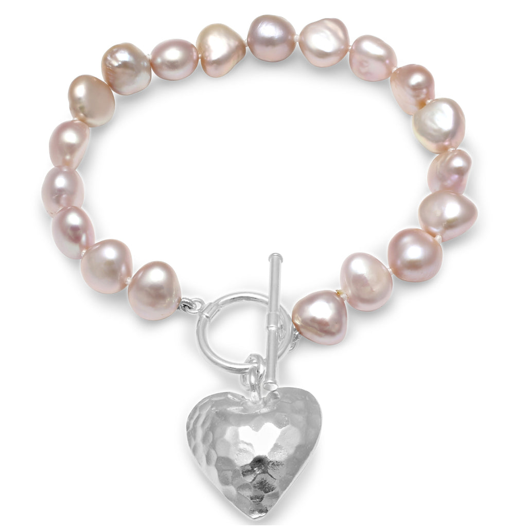 Pink irregular cultured freshwater pearl bracelet with silver hammered heart pendant