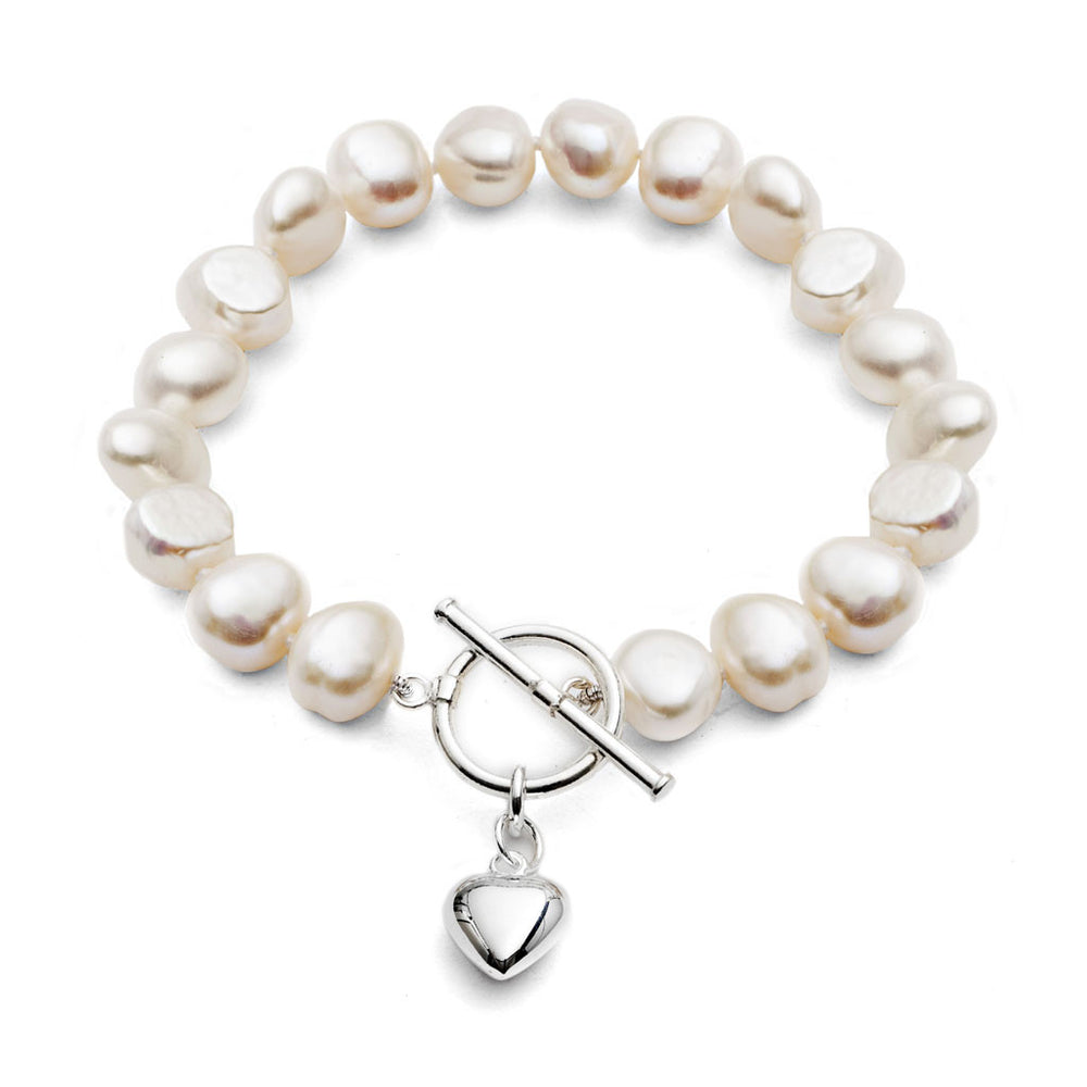 White irregular-shaped cultured freshwater pearl bracelet with sterling silver puffed heart pendant
