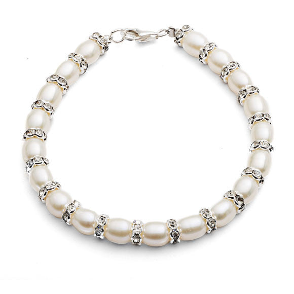White cultured freshwater pearl & silver rondelle bracelet
