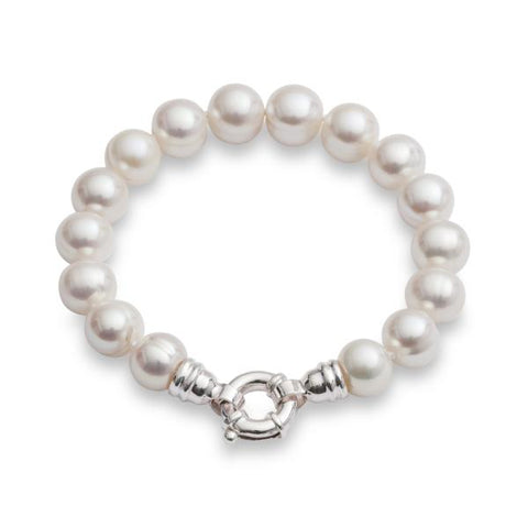 Large baroque cultured freshwater pearl bracelet with silver spring clasp