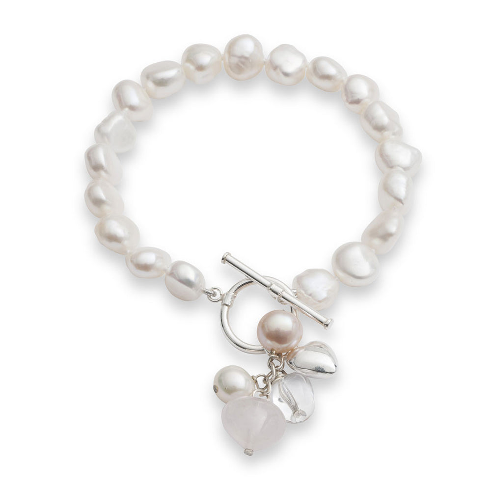 White cultured freshwater pearl bracelet with rose quartz drop pendant