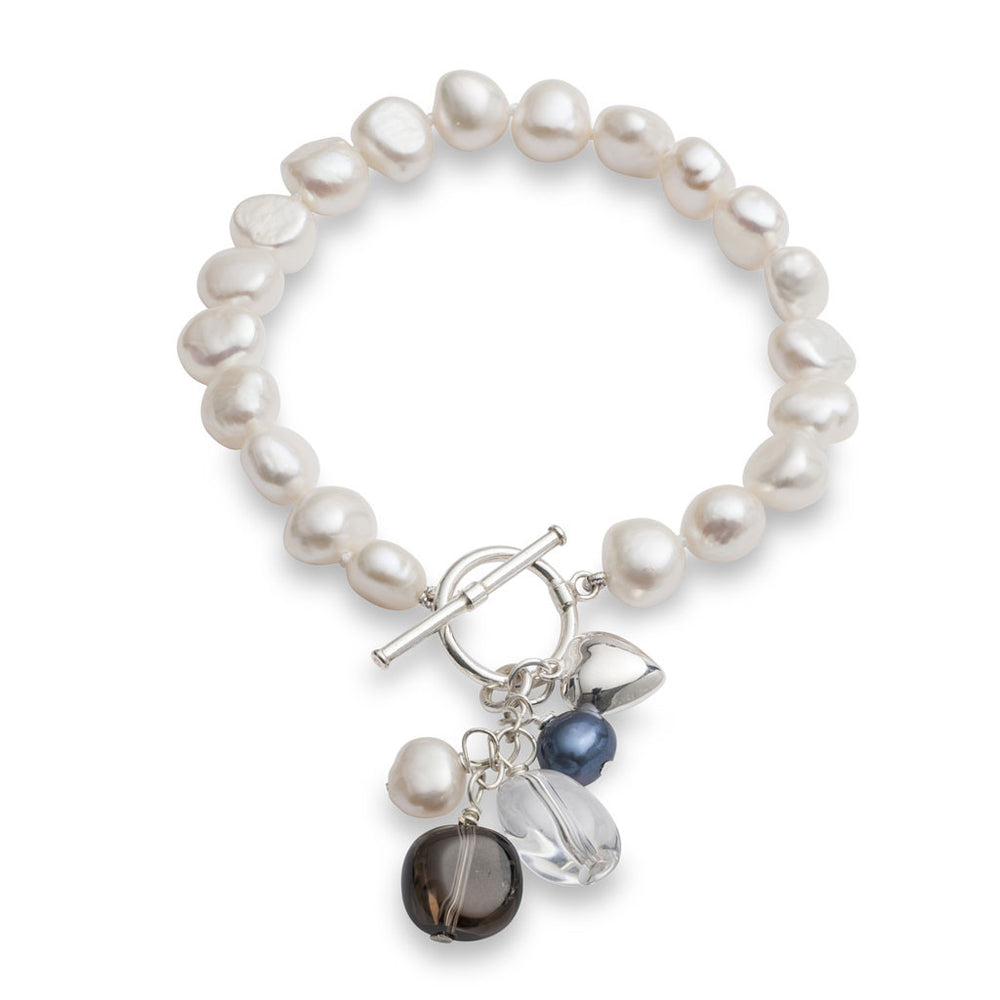 Clara white irregular freshwater pearl bracelet with smokey quartz drop