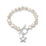 Stella white cultured freshwater pearl bracelet with a sterling silver star charm