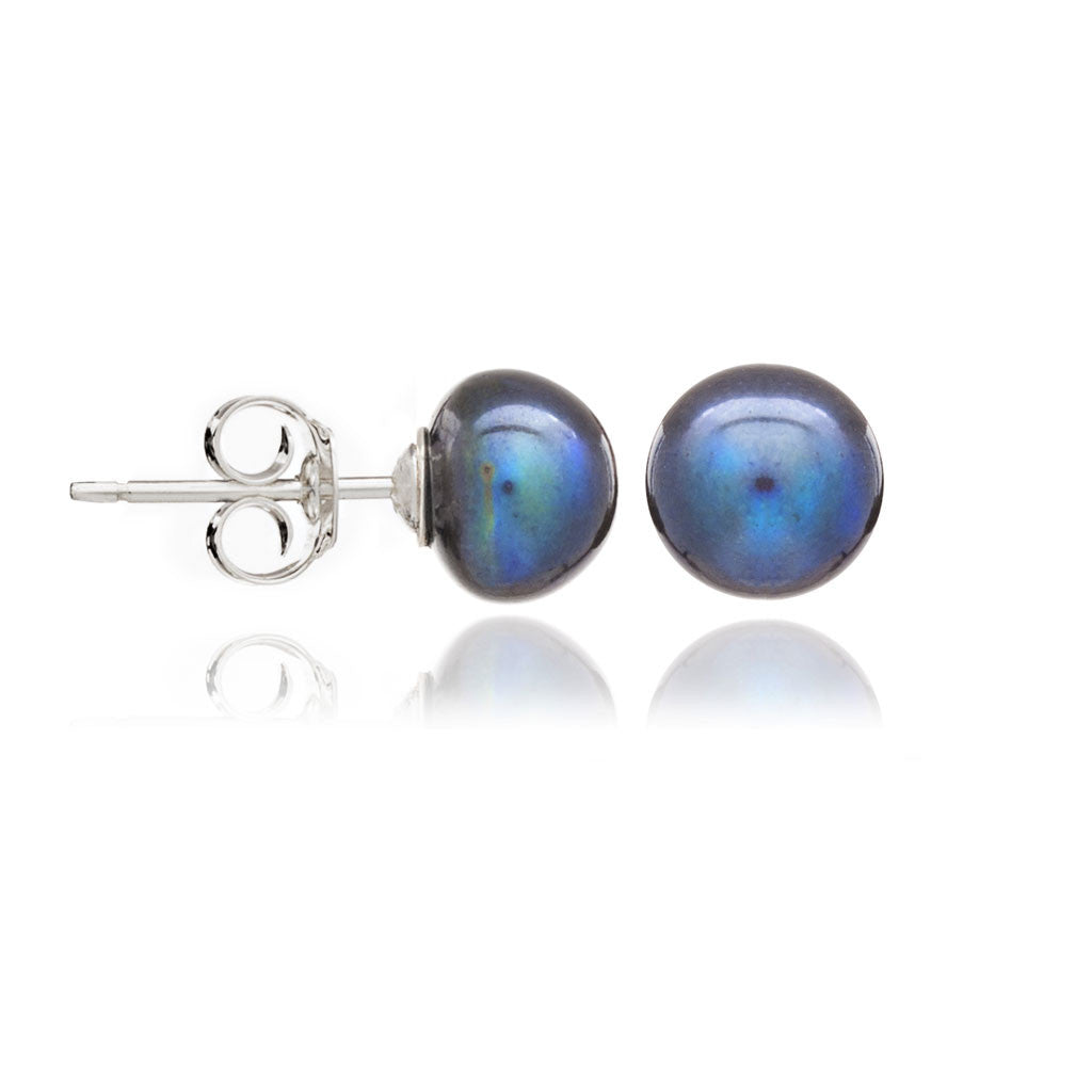 Black button cultured freshwater pearl studs