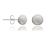 Margarita grey button cultured freshwater pearl studs