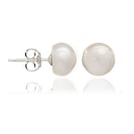 White button cultured freshwater pearl stud earrings