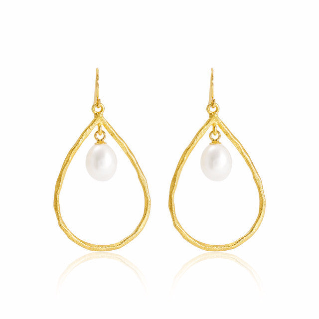 Brushed Gold Vermeil & Pearl Drop Earrings