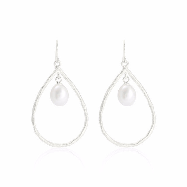 Credo Brushed Sterling Silver & Pearl Drop Earrings