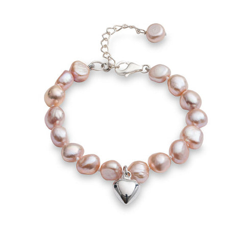 Little girl's pink irregular cultured freshwater pearl bracelet with silver heart