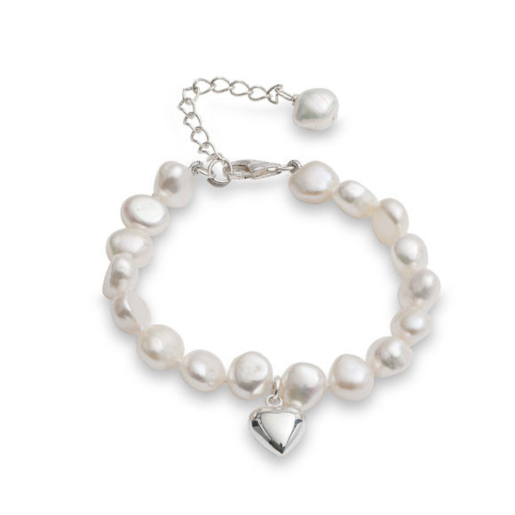 Little girl's white irregular cultured freshwater pearl bracelet with silver heart