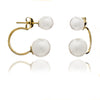 Double round cultured freshwater pearl stud earrings on 18kt gold