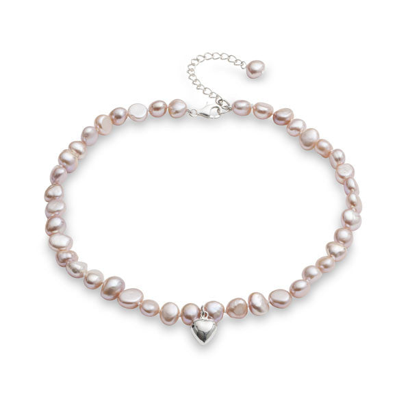 Little girl's pink irregular cultured freshwater pearl necklace with silver heart
