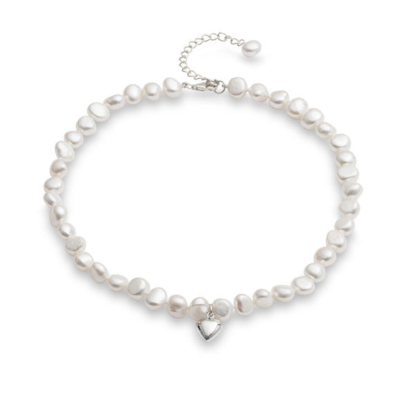 Little girl's white irregular cultured freshwater pearl necklace with silver heart