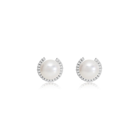 Cultured Freshwater Pearl Stud Earrings With Sparkle Surround