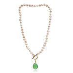 Clara cultured irregular freshwater pearl necklace with chrysophase onyx drop
