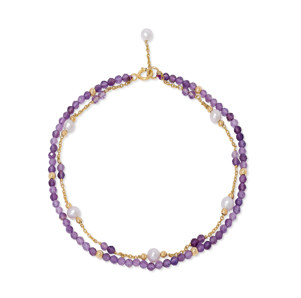 Clara fine double chain bracelet with cultured freshwater pearls & amethyst