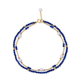 Clara fine double chain bracelet with cultured freshwater pearls & lapis lazuli