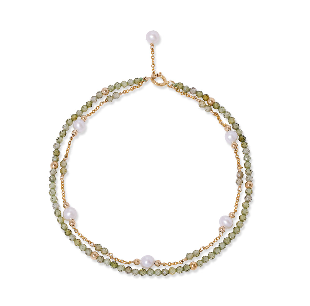 Clara fine double chain bracelet with cultured freshwater pearls & peridot
