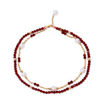 Clara fine double chain bracelet with cultured freshwater pearls & red spinel