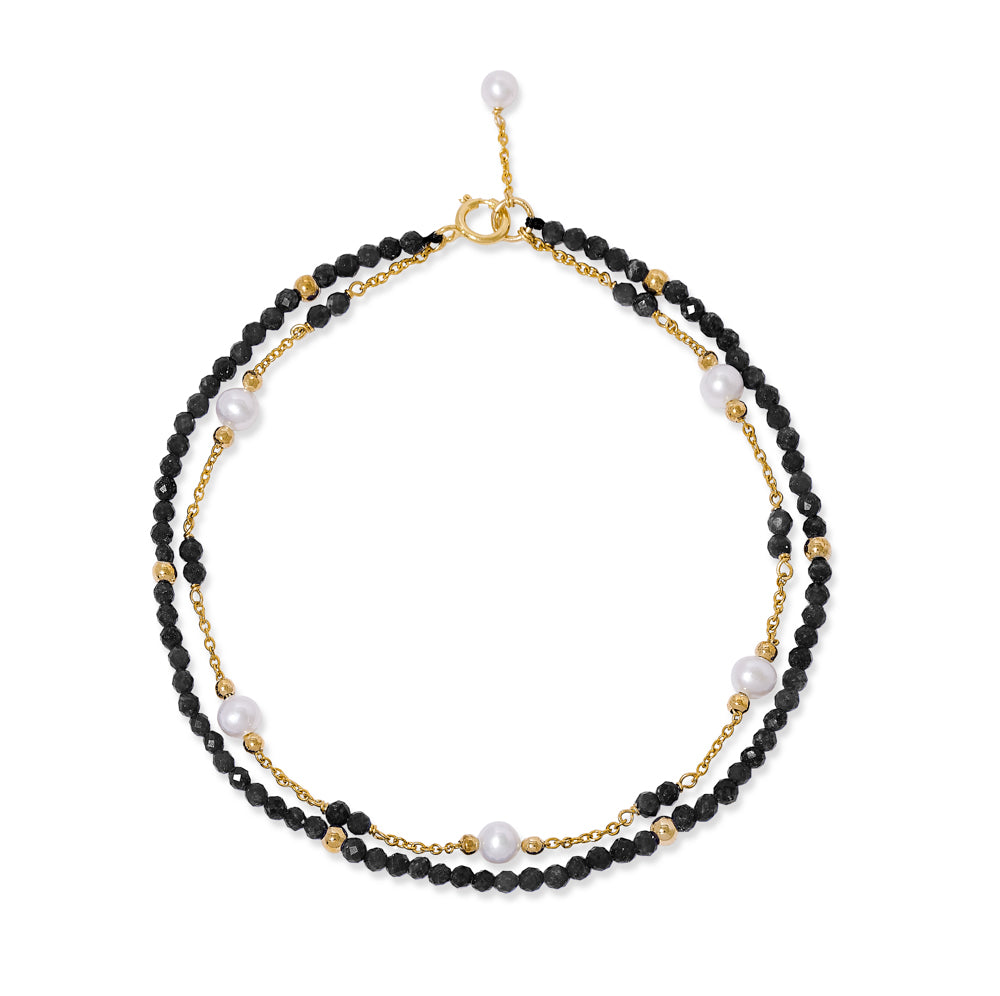 Clara fine double chain bracelet with cultured freshwater pearls & black spinel