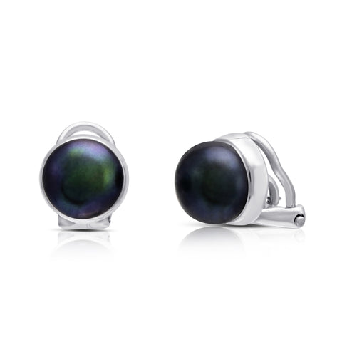 Black cultured freshwater button pearl clip-on earrings with silver surround