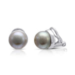 Margarita grey cultured freshwater button pearl clip-on earrings with silver surround
