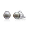 Grey cultured freshwater button pearl clip-on earrings with silver surround