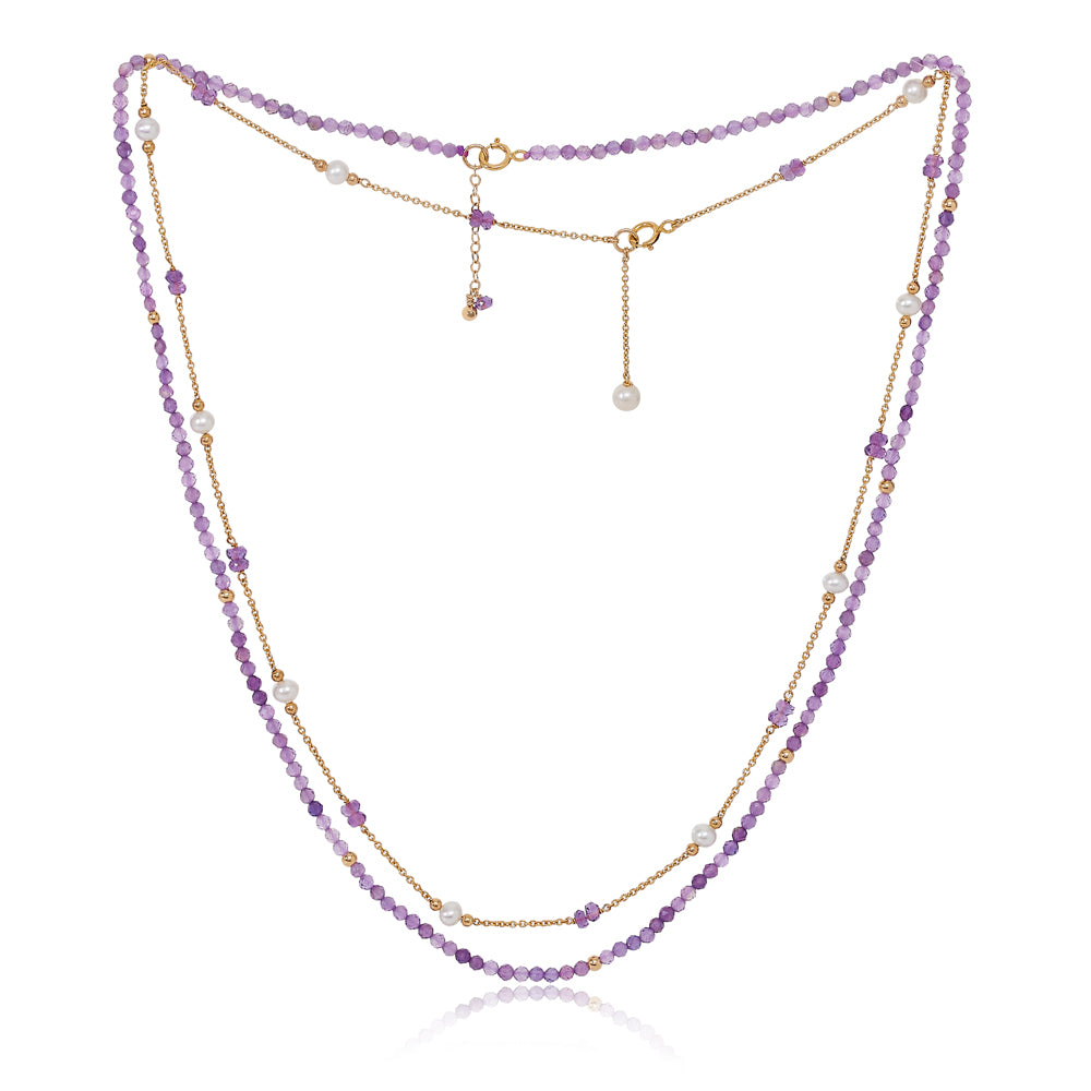 Clara fine double chain set with faceted amethyst & cultured freshwater pearls