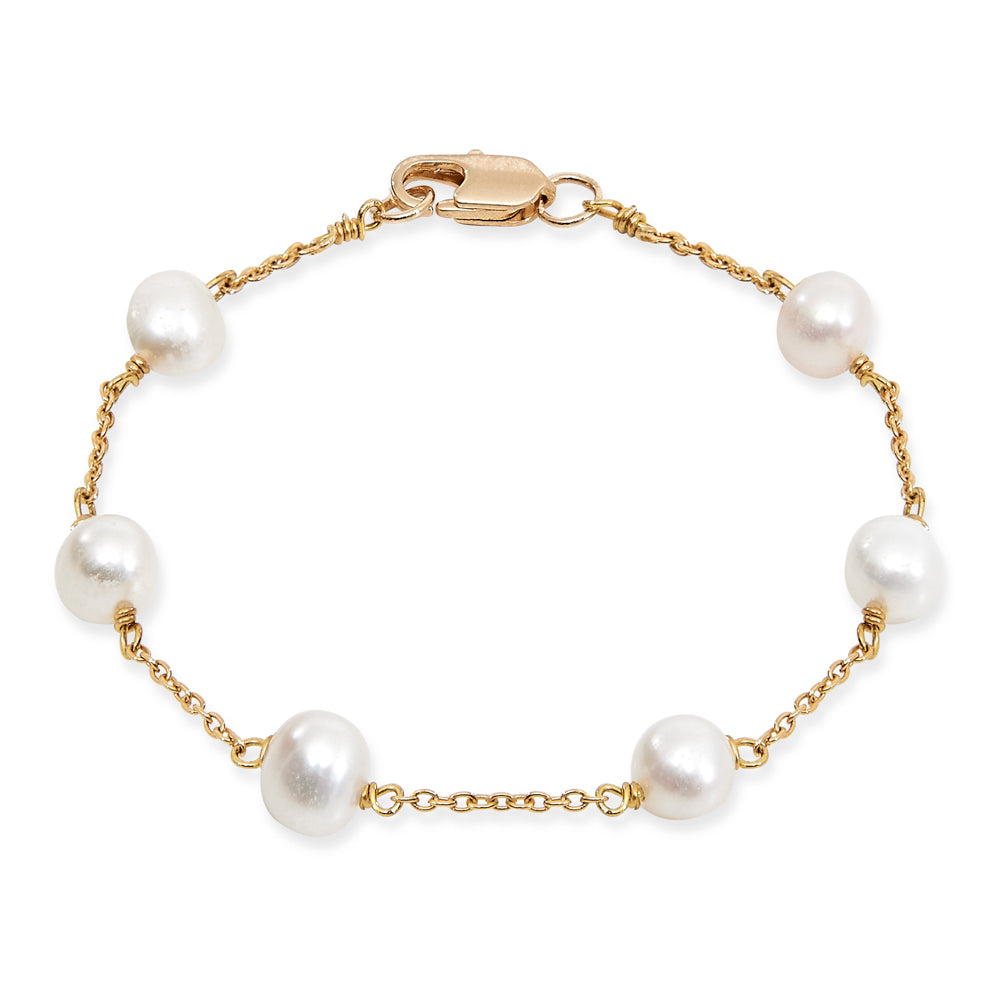 Gratia gold plated sterling silver bracelet with white cultured freshwater pearls