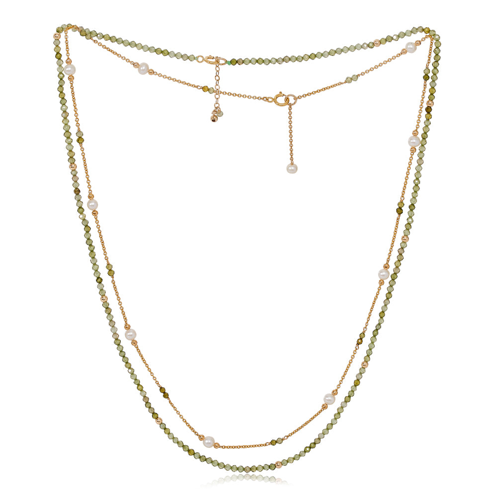 Clara fine double chain set with faceted peridot & cultured freshwater pearls