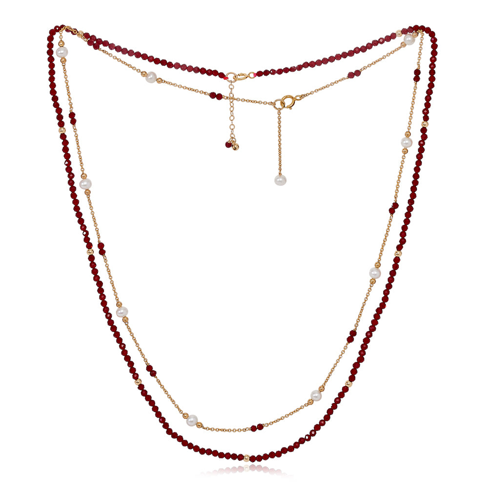 Credo fine double chain set with faceted red spinel & cultured freshwater pearls