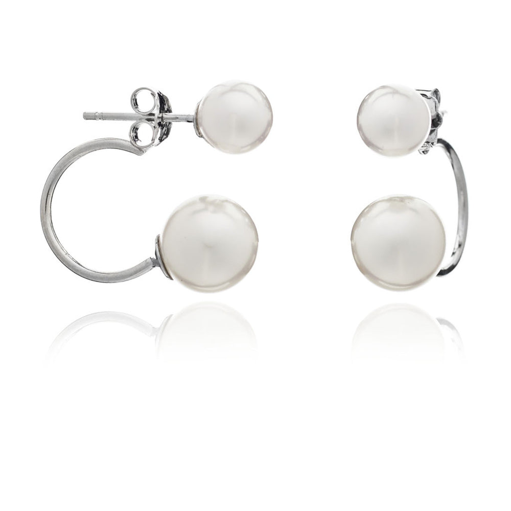 Credo double round cultured freshwater pearl stud earrings on sterling silver